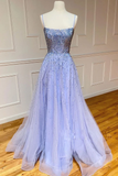 Backless Long Purple Tulle Sequin Spaghetti Straps Prom Dress