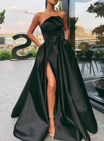 A-Line Black Satin Strapless Pleats Prom Dress With Side Split