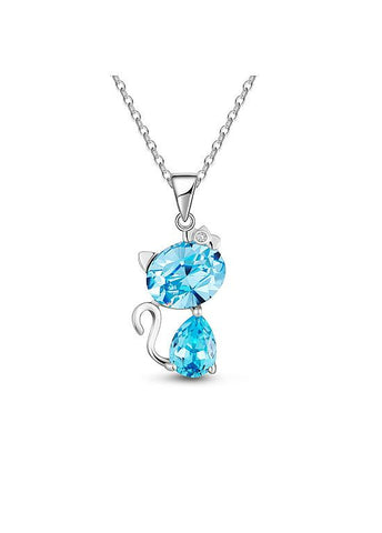 Cute Blue Cat Necklace Chic