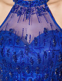 Blue Short Tulle Beading Homecoming Dress