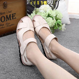 Breathable Hook Loop Leather Flat Shoes