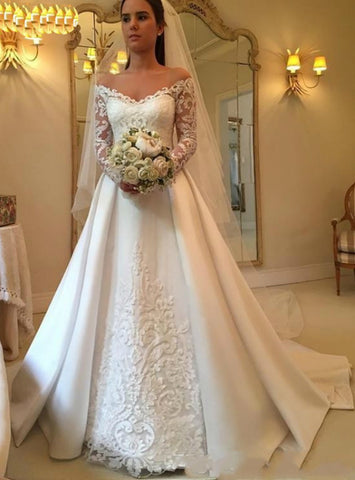 A-Line White Satin Off the Shoulder Long Sleeve Appliques Wedding Dress