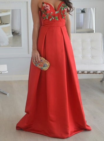 Long Red A Line Strapless Satin Unique Embroidery Prom Dress