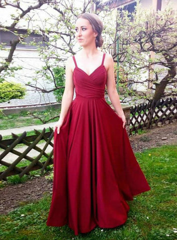 A-Line Burgundy Chiffon V-neck Pleats Long Prom Dress
