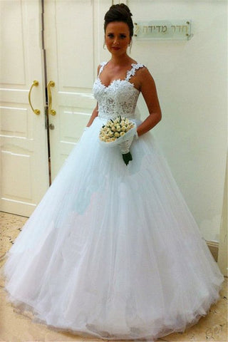 Puffy Tulle Straps Lace Top Sleeveless Bridal Gowns Wedding Dress