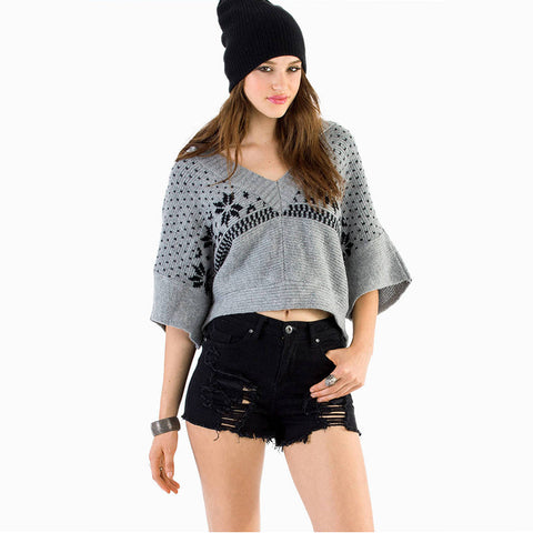 Knitted Pattern V Collar Hooded Sweater
