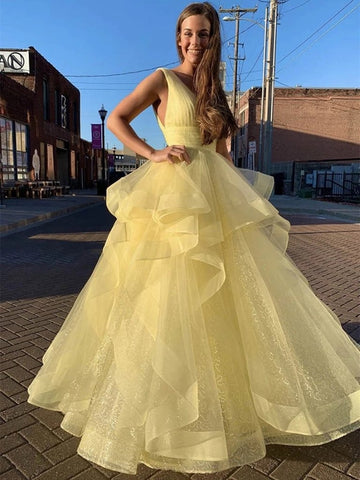V Neck Sequins Fluffy Tulle Yellow Long Prom Dress