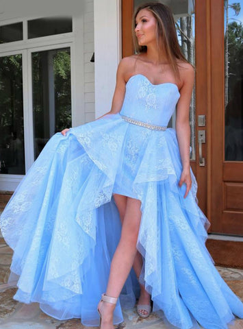 Lace Hi Lo Tulle Beading Light Blue Sweetheart Prom Dress