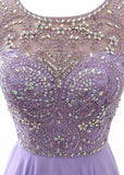Purple Exquisite Chiffon Scoop Neckline A-Line Prom Dresses With Beadings