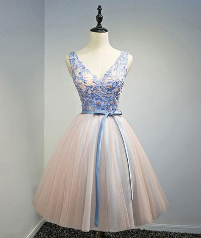 Blue Pink V Neck Tulle Lace Applique Short Prom Homecoming Dress