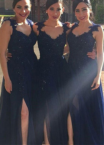 Chic Silk-like Chiffon V-neck Neckline A-line Bridesmaid Dresses With Lace Appliques