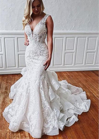 Tulle V-neck Lace Appliques & Beadings Mermaid Wedding Dress
