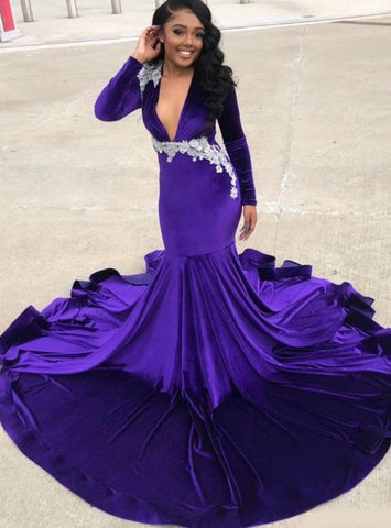 Appliques Purple Mermaid Deep V-neck Long Sleeve Prom Dress