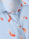 Goldfish Print Striped Button Up Shirt