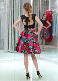 Tulle & Floral Cloth Scoop Neckline A-line Two-piece Homecoming Dresses With Beaded Lace Appliques