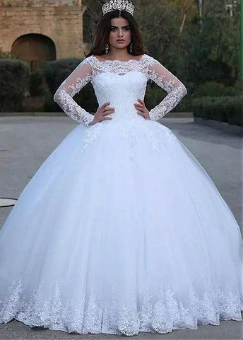 Tulle Bateau Long Sleeve Ball Gown Wedding Dress With Lace Appliques