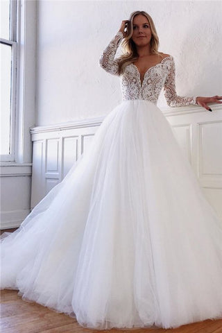 Vintage Fluffy Tulle Lace Bridal Long Sleeve See Trough Wedding Dress