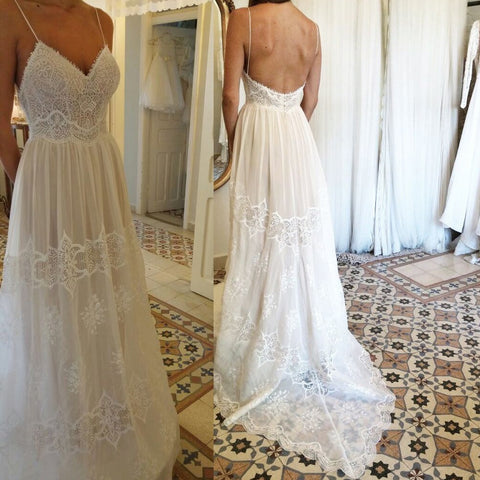 Spaghetti Straps Backless Chiffon Wedding Dress with Lace