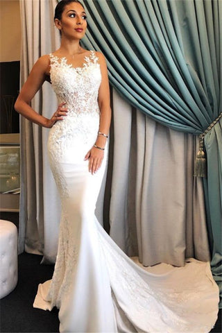 Lace Sweep Train Applique Mermaid Sheer Bridal Gowns Wedding Dress