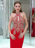 Red Cut-out Mermaid Evening Dress