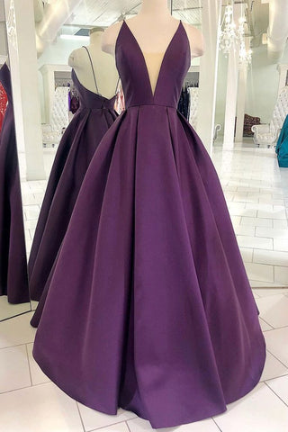 Grape Purple Satin V Neck Backless Long Prom Dress