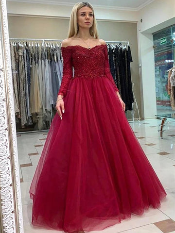 Long Sleeves Tulle Burgundy Off The Shoulder Lace Prom Dress