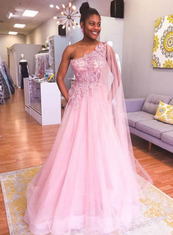 A-Line Pink Tulle Appliques One Shoulder Long Prom Dress