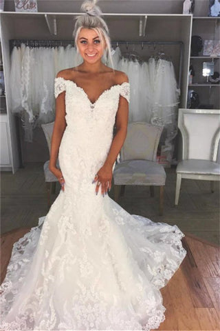 See Through Off The Shoulder Mermaid Lace Appliques Wedding Dress