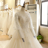 Lantern Sleeve Lace Beads Wedding Dress