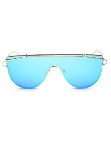 Cross-Bar Mirrored Sheild Sunglasses