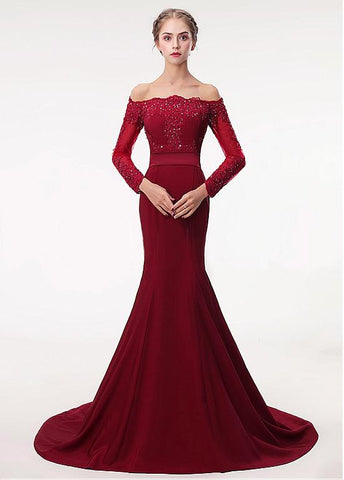 Satin Off-the-shoulder Beading Red Mermaid Evening Dress With Belt