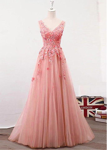 Tulle V-neck Handmade Flowers Pink Prom Dress