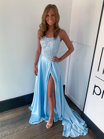 Light Blue Appliques Beading Satin Spaghetti Straps Prom Dress With Slit