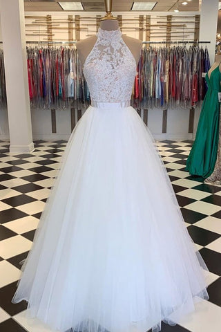Appliques Zipper Back White High Neck Tulle Prom Dress With Belt