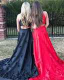 Applique Long A-Line Red Halter Satin Prom Dress