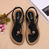 Colorful Handmade Knitting Clip Toe Elastic Flat Sandals