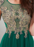 Tulle Jewel Detachable Shawl Green A-line Prom Dress