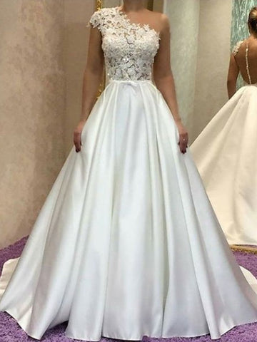 Sleeveless White Satin Princess One-Shoulder Wedding Dresses with Lace
