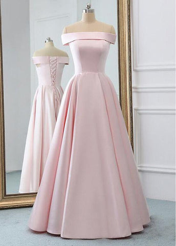 Satin Off-the-shoulder Pink Satin A-line Prom Dress