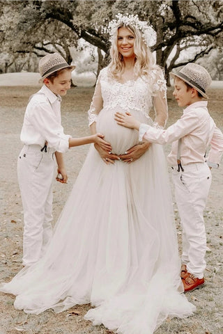 Lace Maternity Tulle Skirt Appliques 3/4 Sleeves Wedding Dress