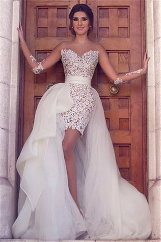 Short Lace Long Sleeve Latest Wedding Dress with Detachable Train