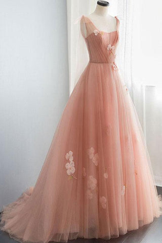 Appliques Straps Long Pink Tulle Flowers Prom Dress