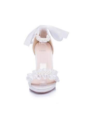 Simple Satin Upper Open Toe Stiletto Heels Wedding/ Bridal Party Shoes With Pearls