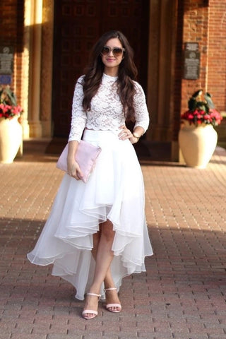 Organza High Low Two Piece Scoop Long Sleeve Lace Wedding Dress