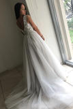 Backless Flower Appliques A-Line Tulle V-neck Wedding Dress