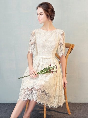 Lace Bowknot Lace Sashes Short Sleeves Homecoming Dress