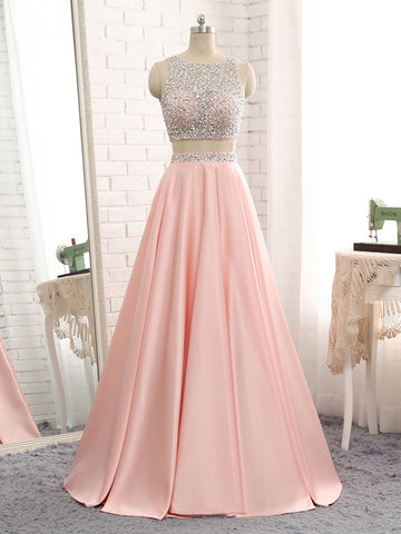 Pink Satin Two Piece Backless Prom Dress