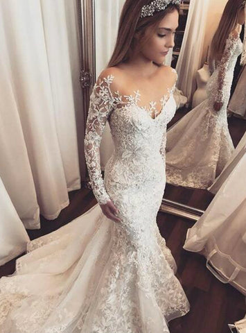 Sheer Long Sleeve Lace Appliques Gorgeous Wedding Dresses