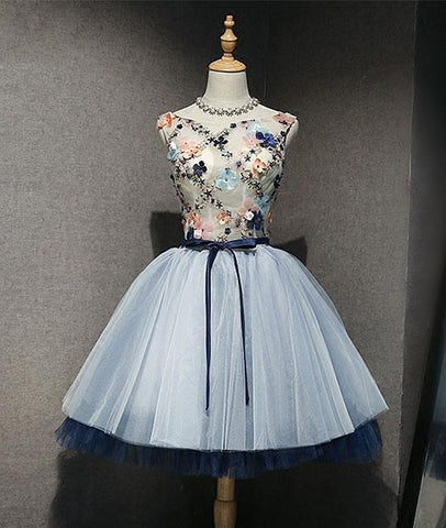 Lovely Round Neck Tulle Short Prom Homecoming Dress