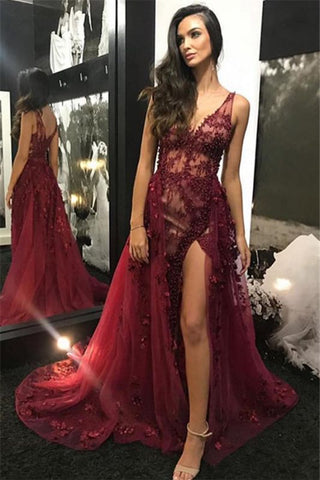 Tulle Burgundy V-Neck Lace Beading Side-Slit Detachable Prom Dress